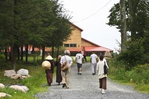 walking toward the Meditation Hall