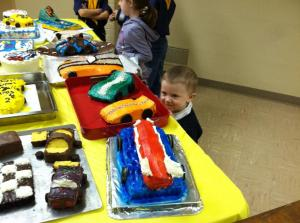 Alice two cakes for pinewood derby banquet and Stephen the cake stalker 2 2013