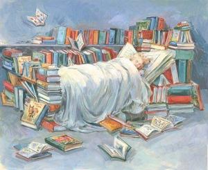 Art books and a bed by claire fletcher