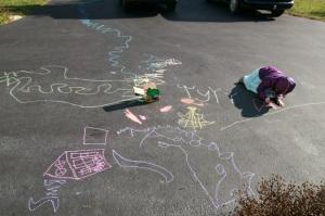 Sofia christmas 2013 new chalk on the driveway