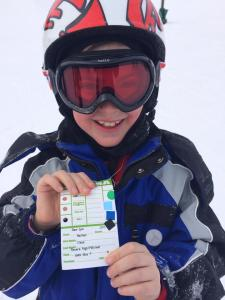 Nathan February 2014 gets black certificate skiing