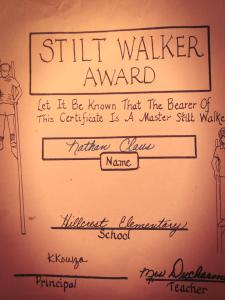 Nathan March 2014 stilt walker award