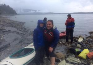 Alice May 2014 with Nathan after a rough two hour paddle to shelter.