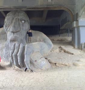 Nathan May 2014 visiting the Fremont Troll in Seattle