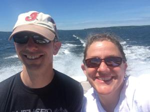 nathan june 2014 Alice and MIke on our 29 year old boat.