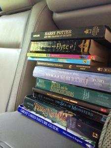 Nathan september 2014 book stash in the car
