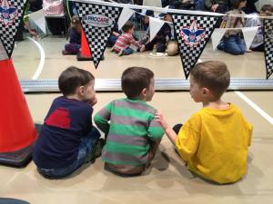 Nathan jan 2015 Stephen watching pinewood derby