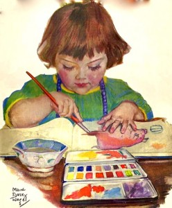 Art child doing watercolor