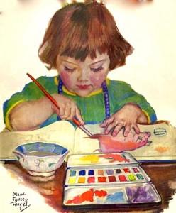 Art child doing watercolor