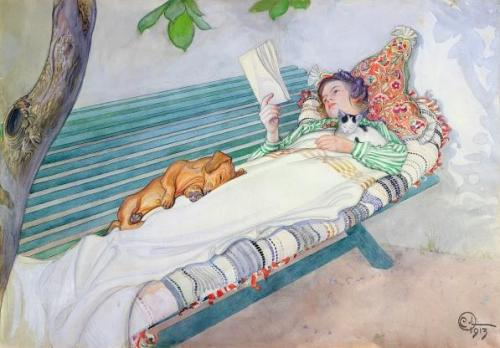 Art Woman Lying on a Bench, 1913.jpg carl larsson