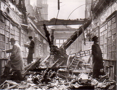 Libraries after air raid london 1940