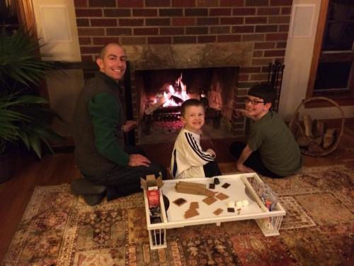 Nathan Feb 2016 Mike surprises the boys with inside smores party after a week of being sick