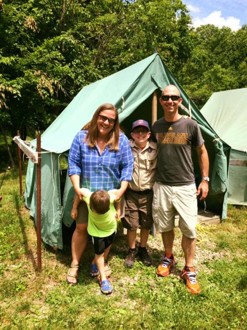 Nathan june 2016 by to family at boy scout camp Christopher