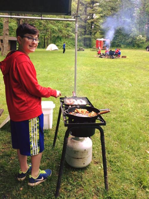 Nathan may 2017 cooking for his patrol at boy scout camp Alice chaperoned