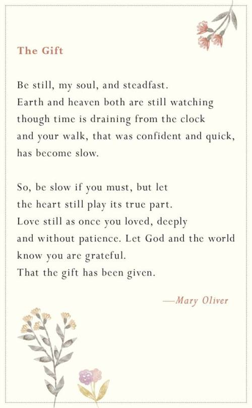 Mary Oliver 11 22 2018 the gift
